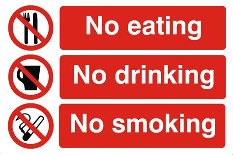 Outdoor Eating Area by No Eating No Drinking No Smoking Sign Raymac Signs