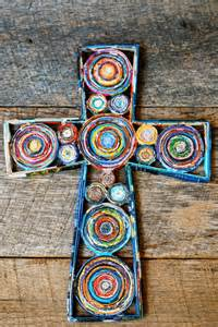 colorful crosses cross wall hanging recycled paper cross colorful cross