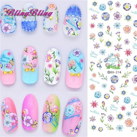 Floral Water Transfer Nail Stickers Stiker Kuku 2 sheet flower nail water decals colorful floral designs transfer nail stickers nail