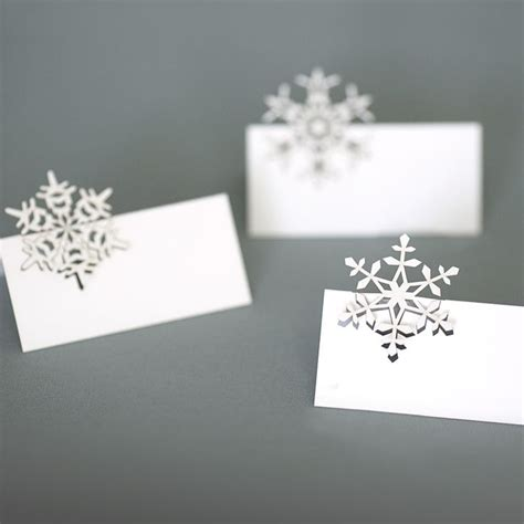 snowflake card template snowflakes place cards plane paper laser cut