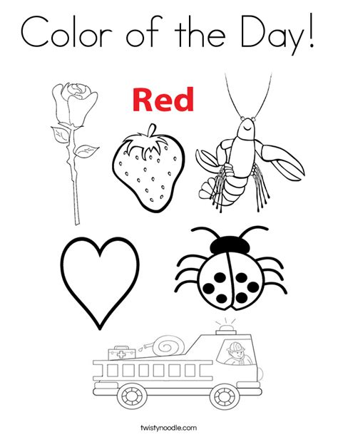 red is the color of the day children s song red colors color of the day coloring page twisty noodle