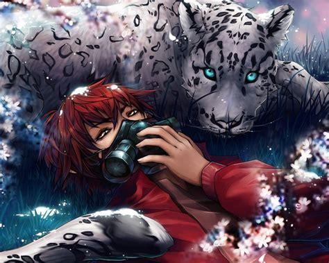 anime wallpaper tiger anime boys gas masks eyes big cats tiger flowers