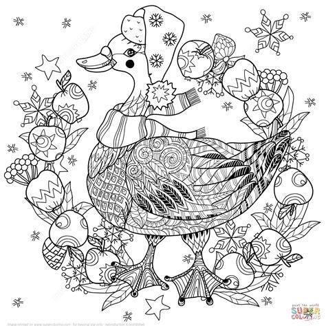 christmas zentangle coloring page christmas goose with apples zentangle coloring page free