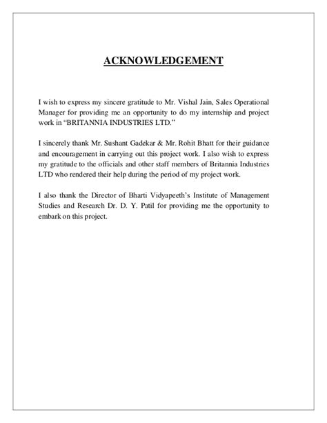 Project Report Acknowledgement Letter Sles Acknowledgement