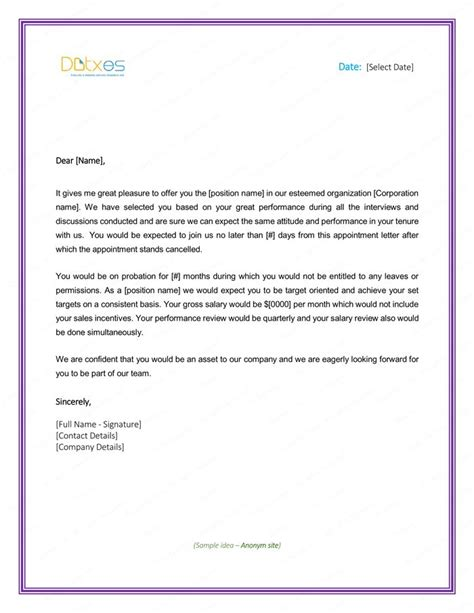 probation meeting template 48 best letter templates write and professional