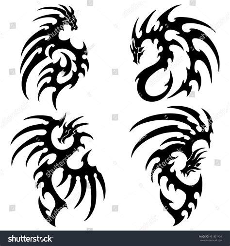 tribal tattoo dragon vector illustration vector illustration set tribal dragon tattoo stock vector