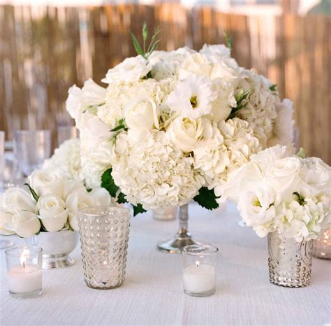White Wedding Vases by Reception D 233 Cor Photos White Bouquets In Silver Vases At