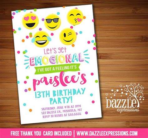 printable emoji birthday invitations printable tween emoji birthday invitation teen girl or