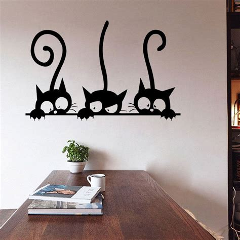 stickers for walls for rooms diy three cats wall stickers removable living room decor vinyl mural decals ebay