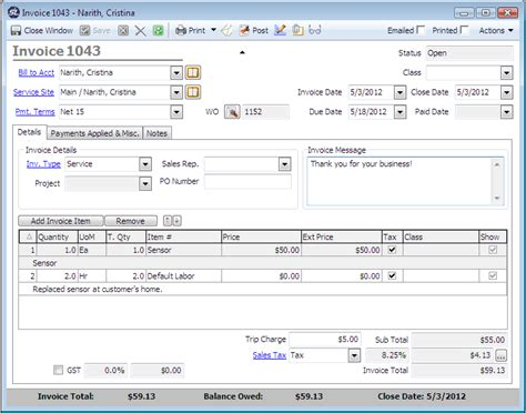 ServiceLedger   Software   Features   Service Invoicing