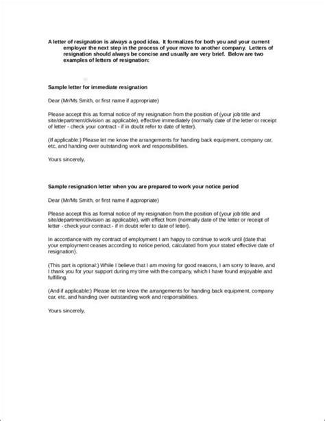 Resignation Letter Immediate by 33 Printable Resignation Letter Sles Templates Free Sles In Pdf Doc