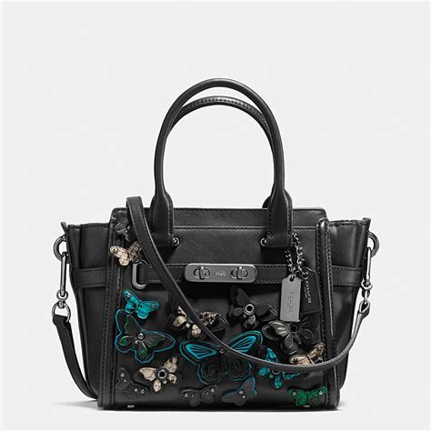 New Arrival Coach Swagger Mini coach butterfly applique coach swagger in glovetanned leather