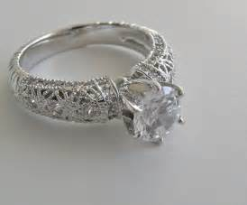 Engagement ring setting with diamond accents filigree engagement ring