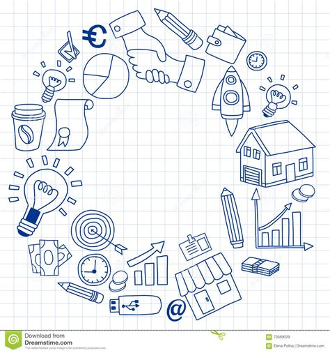 doodle business free vector set of doodle business icons stock vector image