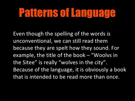 pattern of language meaning woolvs in the sitee language
