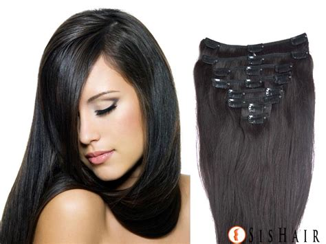 single clip in human hair extensions clip in human hair extensions color 1b