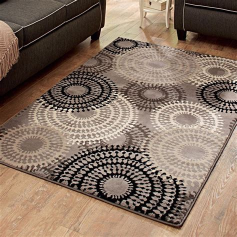 2 x5 rug taupe ornate circles olefin cut pile area rug indoor