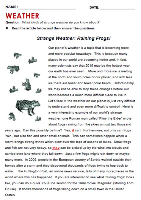 reading comprehension test advanced pdf weather all things topics