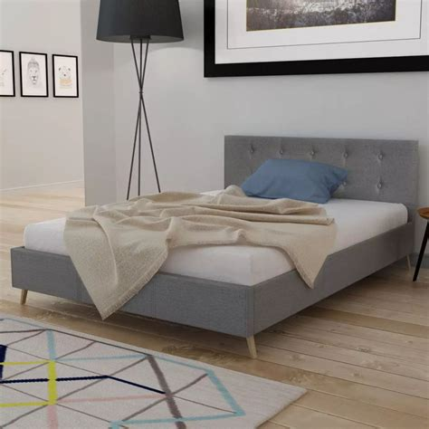 Matras Bed No 3 vidaxl nl bed hout lichtgrijze stof traagschuim matras