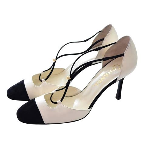 chanel shoes chanel ivory leather black suede cross heels shoes