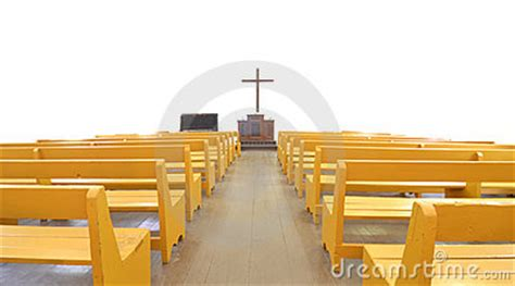 church pews  front  cross  altar stock photography