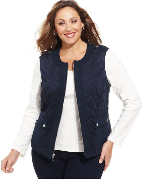Plus Size Quilted Vest by Navy Quilted Vest Jones New York Signature Plus Size Quilted Vest Where To Buy How To Wear