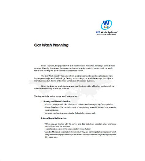 car wash business plan sle free download