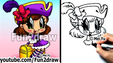 fun2draw how to draw cartoon people how to draw cartoon characters chibi pirate girl step by