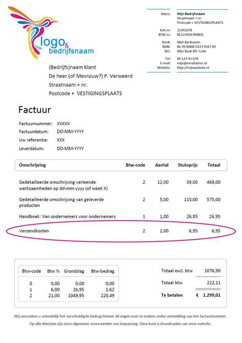 Factuur Voorbeeld Wat Moet Er voorbeeld verzendkosten en transportkosten op factuur