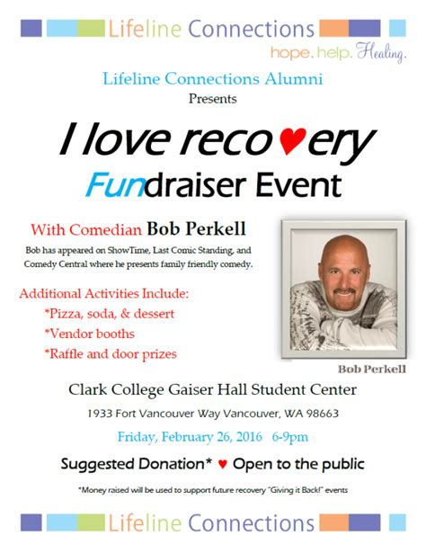 Lifeline Connections Detox Vancouver Wa by Comedian Bob Perkell To Perform At Clark College I