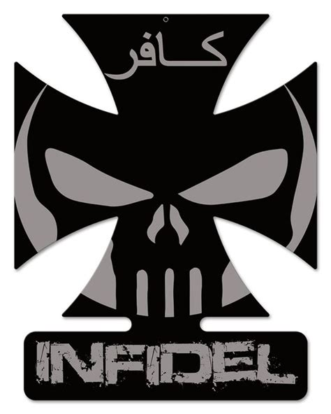 infidel iv iron cross metal wall sign gruntworks11b