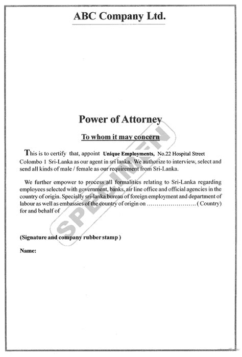 sle letter power of attorney sle business letter