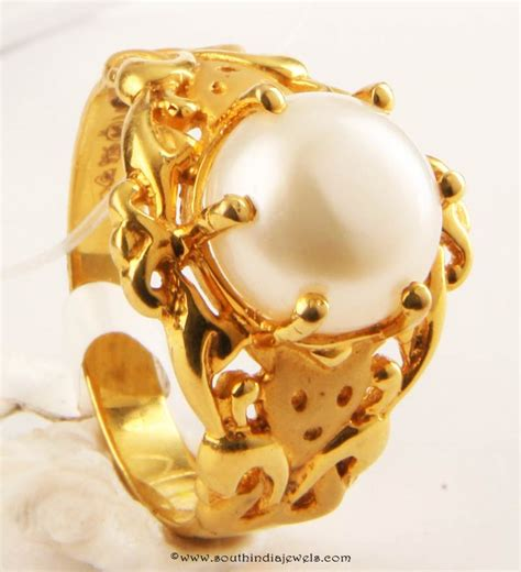 gold pearl ring design from senthil murugan jewellers