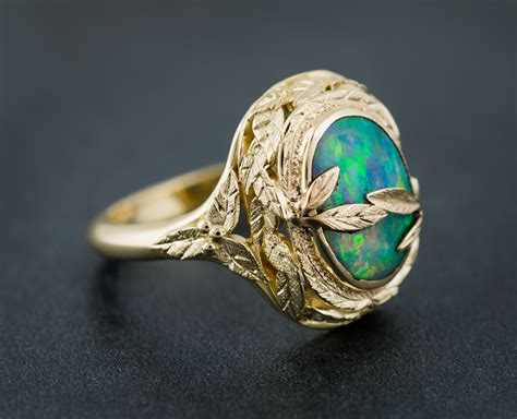 opal and textured leaf custom ring arden jewelers