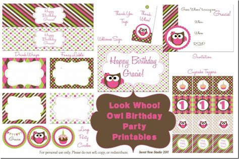 printable birthday decorations free owl birthday party free printables