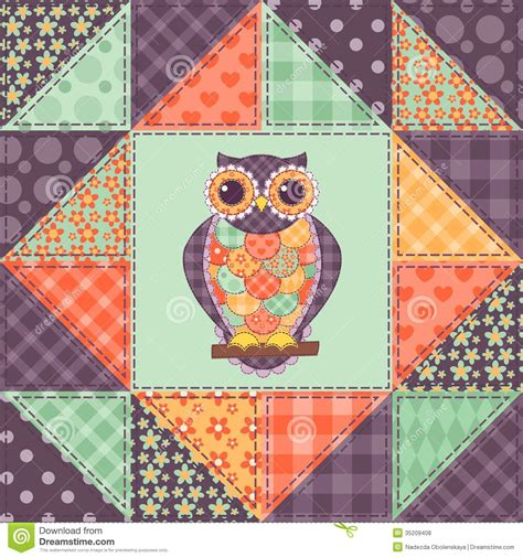 Owl Patchwork - patchwork patterns seamless patchwork owl pattern