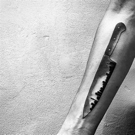 60 Chef Knife Tattoo Designs For Men   Cook Ink Ideas