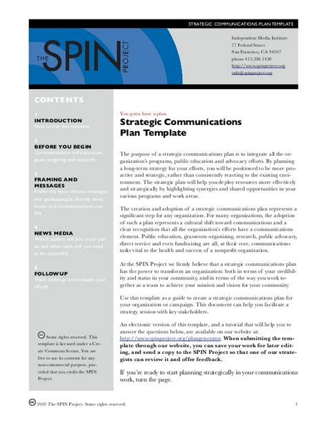 Communication Strategy Template Strategic Communication Plan Template