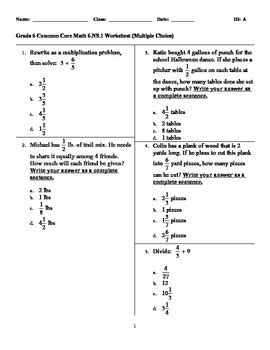 6 Ns 1 Worksheets by Common Math Grade 6 Worksheets Wiildcreative