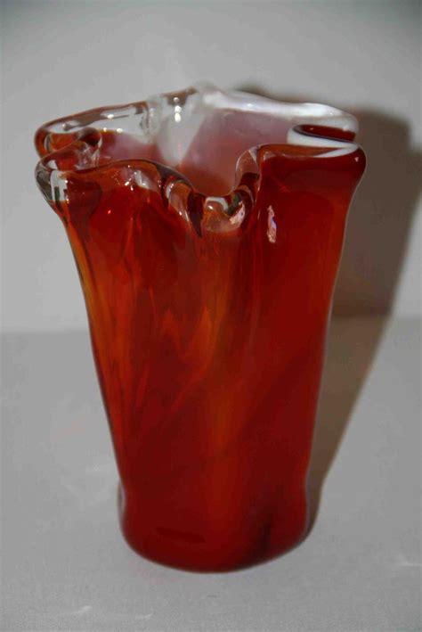 Murano Orange Glass Vase by Vintage Murano Orange Glass Vase Modern Mantiques