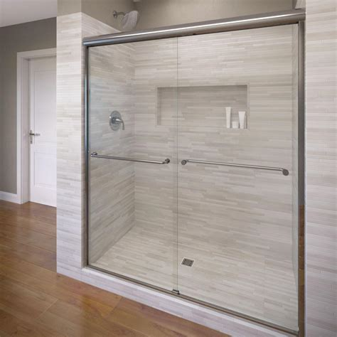 Semi Framed Shower Doors Foremost Cove 38 In To 42 In X 65 In Semi Framed Sliding Bypass Shower Door In Silver With 1