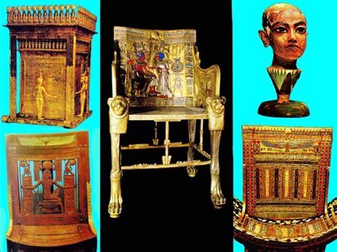 B Egyptisch museum Toetanchamon troon en stoel- Caïro ...