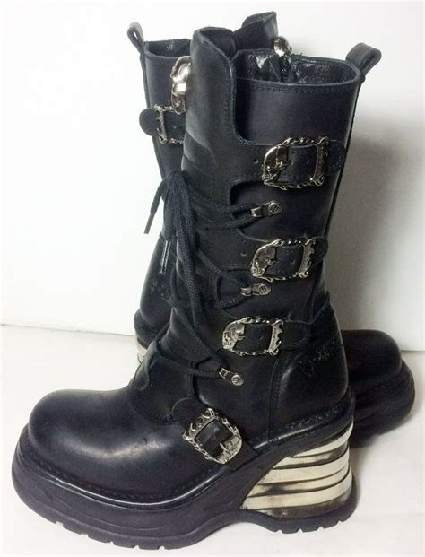 lace up motorcycle riding boots new rock lace up knee high skull ladies black leather