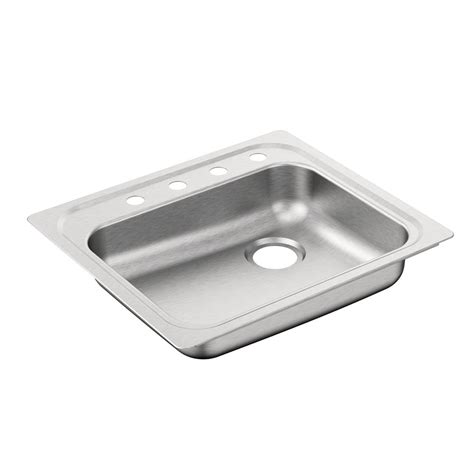 Stainless Steel Single Bowl Drop In Kitchen Sinks Moen 2000 Series Drop In Stainless Steel 25 In 4 Single Bowl Kitchen Sink G201974r The