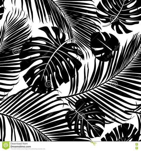 black and white tree pattern seamless repeating pattern of leaves vector illustration