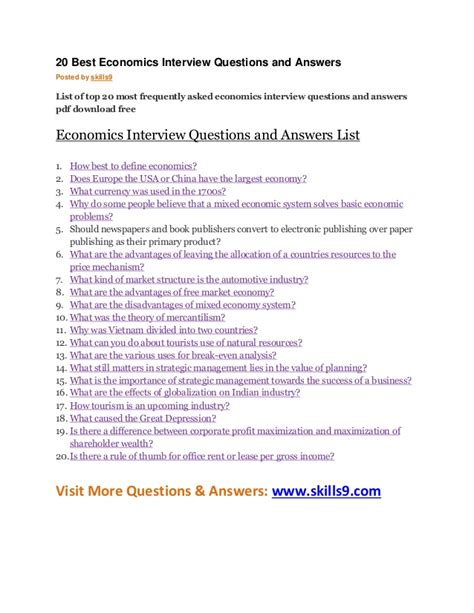 best questions and answers 20 best economics questions and answers