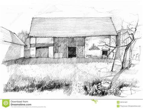 scheune zeichnung alte scheune stock abbildung bild freih 228 ndig kunst