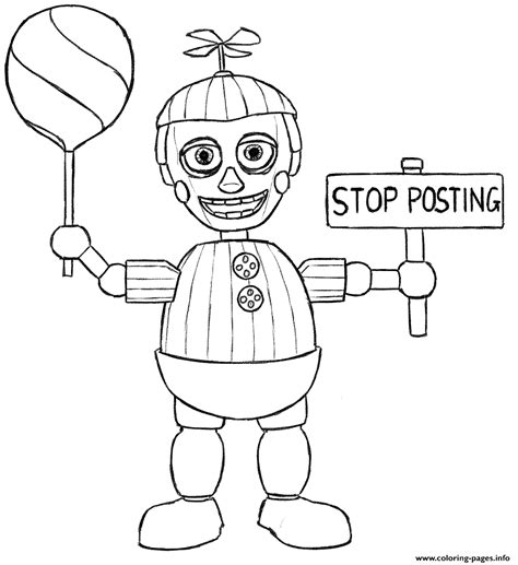 Balloon boy phantom five nights at freddys fnaf coloring pages printable