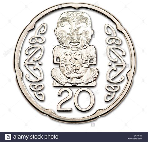 Nem 20c new zealand coin 20c m艨ori pukaki carving stock photo