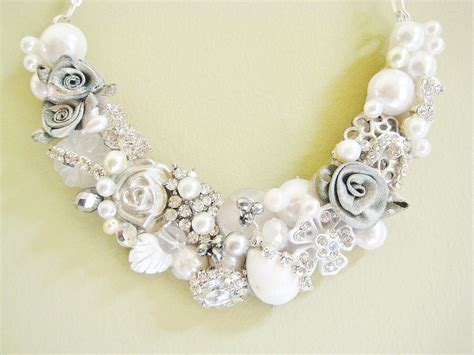 Handcrafted Bridal Jewelry - statement wedding jewelry bridal necklace etsy handmade 9